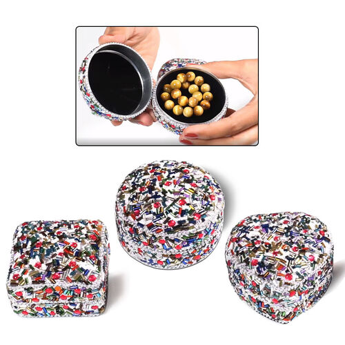 Set of 3 - Square, Round and Heart Shape Multi Colour Jewellery Box   (Size 6x6x2.5 Cm, 6.5x3.5 Cm,