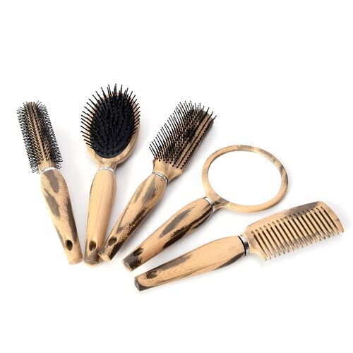Set of 5- Black and Beige Colour Salon Hair Comb with Mirror
