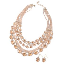 2 Piece Set - Morganite Colour Beads and White Austrian Crystal Multi Row Necklace (Size 24 with 3 i