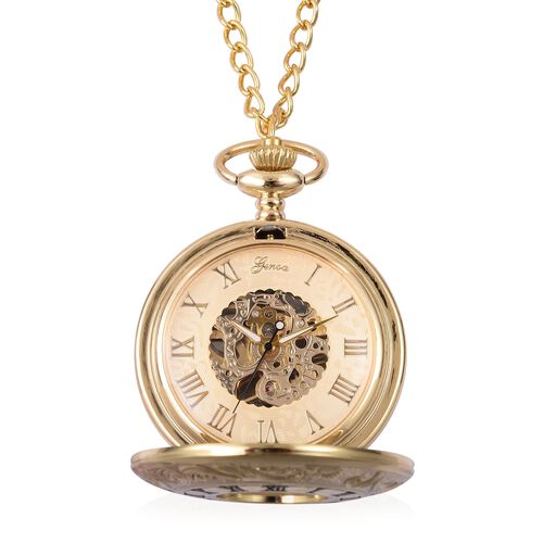 GENOA Automatic Skeleton Golden Dial Water Resistant Ornate Pattern Pocket Watch with Chain in Gold Tone