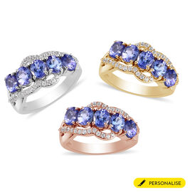 Personalised Engravable Tanzanite and Zircon Ring
