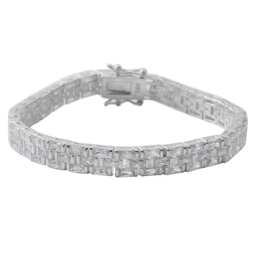 ELANZA Simulated Diamond (Bgt) Bracelet (Size 7) in Sterling Silver, Silver wt 21.05 Gms.