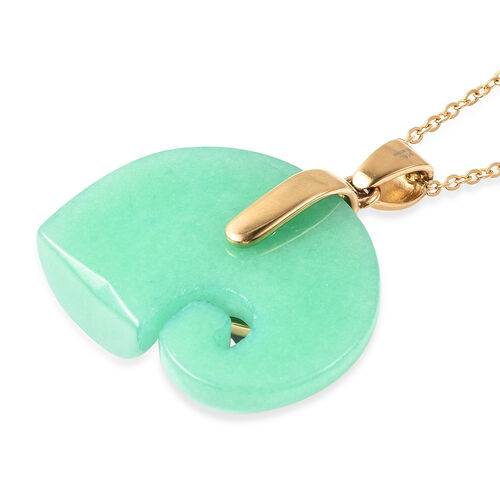 Green Jade and White Jade Elephant Pendant with Chain (Size 20) in Yellow Gold Plated Stainless Steel 74.45 Ct