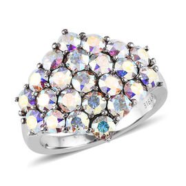 J Francis - Crystal from Swarovski AB Crystal (Rnd) Cluster Ring in Stainless Steel