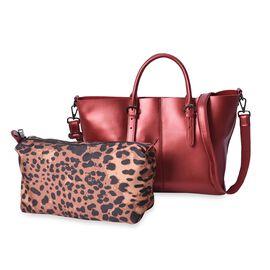 2 Piece Set - 100% Genuine Leather Tote Bag with Detachable Shoulder Strap and a Leopard Pattern Pou