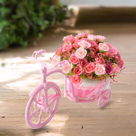 Nostalgic Bicycle Artificial Flower Decor Plant Stand (Size: 26x13x18 Cm) - Pink