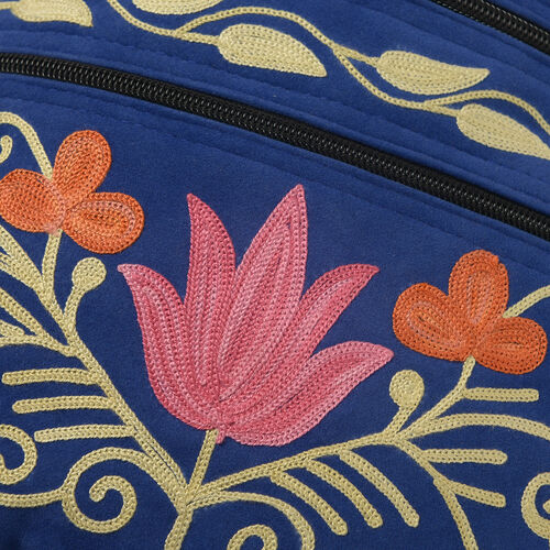 Hand Embroidered Blue and Multi Colour Floral and Leaves Pattern Sling Bag