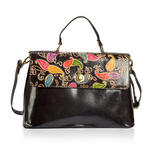 Limited Collection Hand Painting 100% Genuine Leather Multi Colour Paisley Vintage Style Handbag (Size 35x25 Cm)
