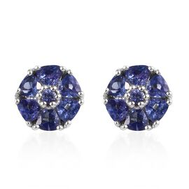 Tanzanite (Trl and Rnd) Stud Earrings (with Push Back) in Platinum Overlay Sterling Silver 1.22 Ct.