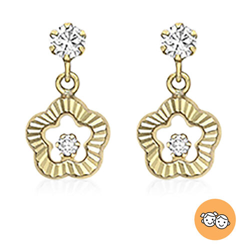 9K Yellow Gold Simulated Diamond Flower-Drop Earrings (with Push Back)