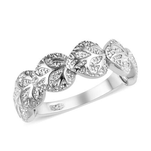 Platinum Overlay Sterling Silver Leaf Ring