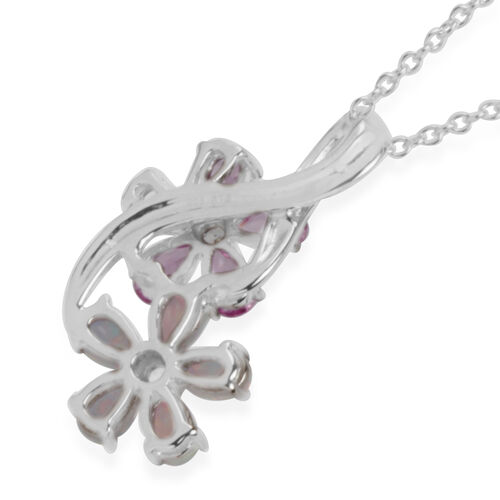 Simulated Pink and White Sapphire and Simulated White Opal Floral Pendant with Chain in Rhodium Plated Sterling Silver