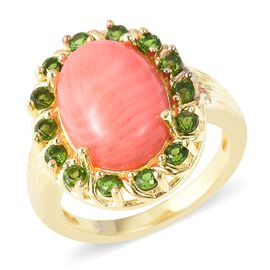 5.84 Ct Living Coral and Russian Diopside Halo Ring in Gold Plated Sterling Silver 5.71 Grams