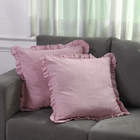 Set of 2 Cotton Linen Solid Cushion Cover with Ruffled Flange (Size - 45x4 Cm) - Baby Pink