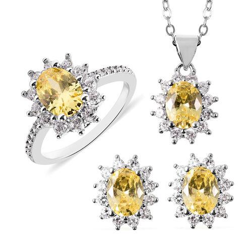 3 Piece Set - Simulated Citrine and Simulated Diamond Sunburst Theme Ring, Stud Earrings (with Push