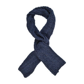 ARAN 100% Pure New Wool Irish Scarf in Navy Colour (Size One, 150x20cm)