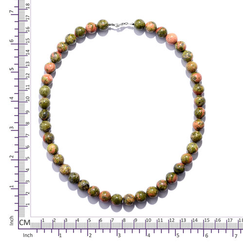 Special Close Out- Unakite (Round Bead 10 mm) Necklace (Size 18) in Rhodium Overlay Sterling Silver  366.000 Ct