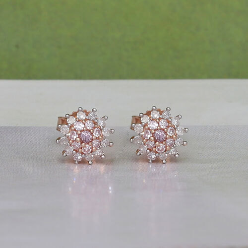 9K Rose Gold White and Pink Diamond Earrings (with Push Back) 0.25 Ct.