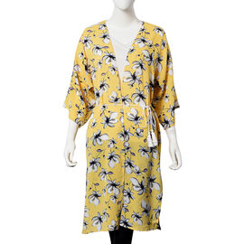 Magnolia Pattern Midi Dress with Rope Belt (Size 60x103 Cm) - White and Yellow