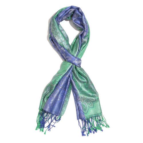 SILK MARK- 100% Superfine Silk Green and Blue Colour Jacquard Jamawar Scarf with Fringes (Size 190x70 Cm)