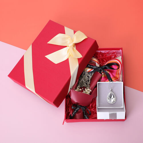 3 Piece Set - Simulated Diamond, White Austrian Crystal Pendant with Chain (Size 24 with 3 inch Extender) in Silver Tone & Fuchsia with Multi Colour Scarf (Size 50x50cm) in Gift Box