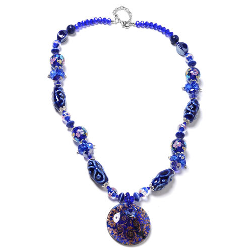 Blue Colour Murano Style Glass and Multi Gemstone Glass Beaded Necklace 28 and 2.5 inch Extender