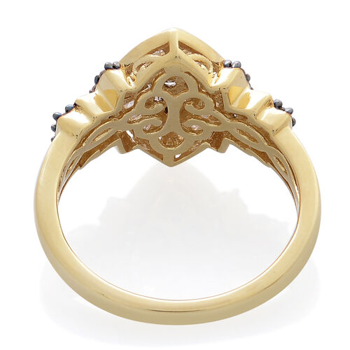 Designer Inspired- Natural Champagne Diamond (Rnd), White Diamond Ring in 14K Gold Overlay Sterling Silver 1.000 Ct.