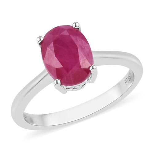 RHAPSODY 950 Platinum AAAA Burmese Ruby Solitaire Ring 2.25 Ct, Platinum wt. 4.23 Gms