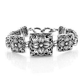 Royal Bali Collection Oxidised Sterling Silver Lilac Flower Borobudur Bracelet (Size 7.5), Silver wt 46.88 Gms.
