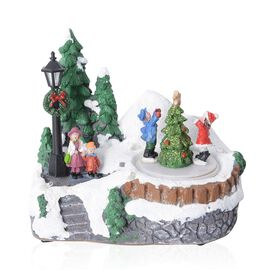 Home Decor Christmas LED Music Box (Size 10.5x15x13.5 Cm) (Needs 3 AA Batteries)