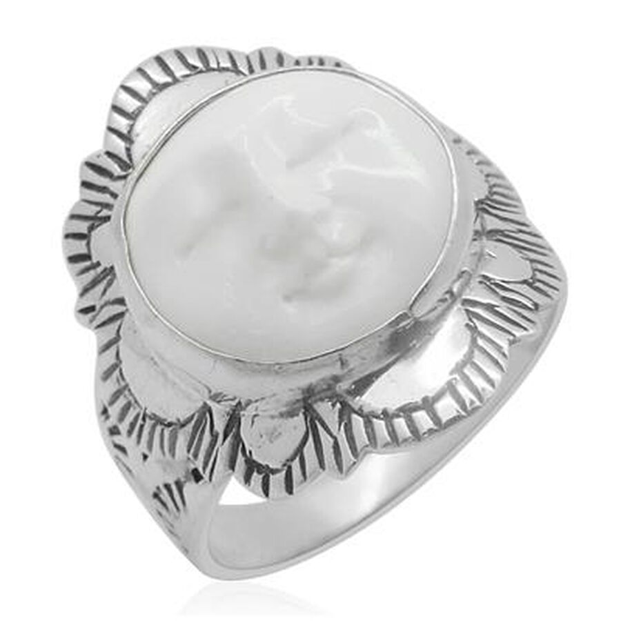 Princess Bali Collection Ox Bone Carved Face Rnd Ring In Sterling Silver 5 150 Ct M2271318 Tjc