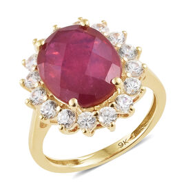 9 Carat AAA African Ruby and Cambodian Zircon Halo Ring in 9K Gold 3.13 Grams