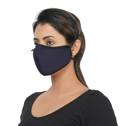 6 Layer Reusable and Washable Face Covering (One Size - 13x24cm) - Navy Blue