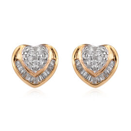 Diamond (Rnd and Bgt) Heart Stud Earrings (with Push Back) in 14K Gold Overlay Sterling Silver 0.330 Ct.