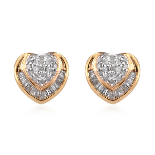 Diamond (Rnd and Bgt) Heart Stud Earrings (with Push Back) in 14K Gold Overlay Sterling Silver 0.330