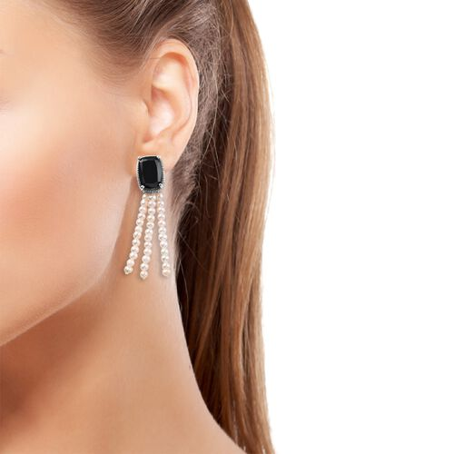 Natural Boi Ploi Black Spinel (Cush 14x10 mm), Freshwater Pearl Earrings (with Push Back) in Platinum Overlay Sterling Silver 32.50 Ct.