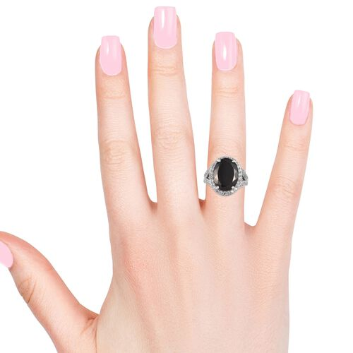 Elite Shungite (Ovl), Natural Cambodian Zircon Ring in Platinum Overlay Sterling Silver 6.75 Ct, Silver wt 5.00 Gms
