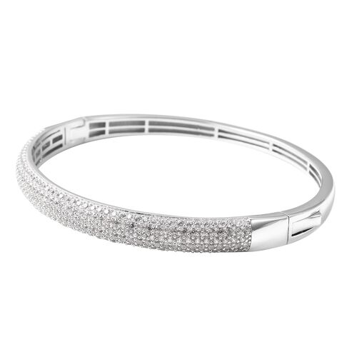 Natural White Cambodian Zircon (Rnd) Cluster Bangle (Size 7.5) in Rhodium Overlay Sterling Silver Silver wt 19.30 Gms, Number of Gemstone 239