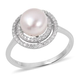 Freshwater White Pearl (Rnd 8.5-9 mm), Simulated Diamond Ring in Rhodium Overlay Sterling Silver