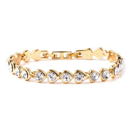 White Austrain Crystal Link Bracelet (Size 7.5) in Yellow Gold Tone