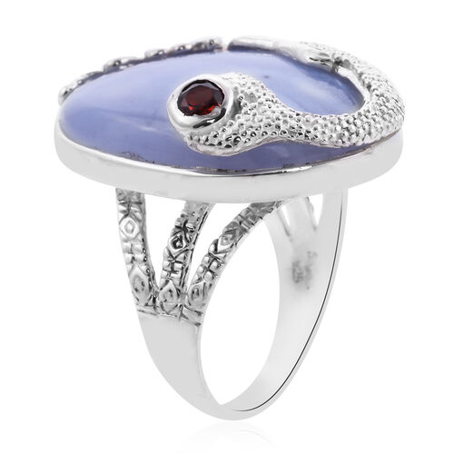 Sajen Silver - Blue Lace Agate and Mozambique Garnet Ring in Sterling Silver 38.00 Ct, Silver wt. 10.50 Gms