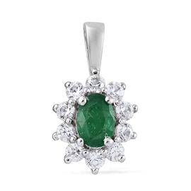 Kagem Zambian Emerald (Ovl), Natural Cambodian Zircon Pendant in  Platinum Overlay Sterling Silver 1.750 Ct.