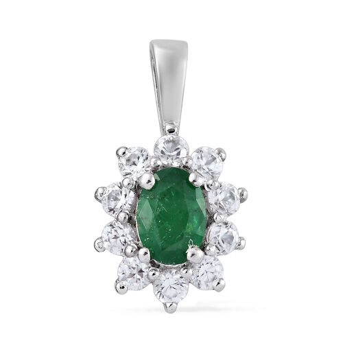 1.75 Ct Zambian Emerald and Cambodian Zircon Halo Pendant in Platinum Plated Sterling Silver