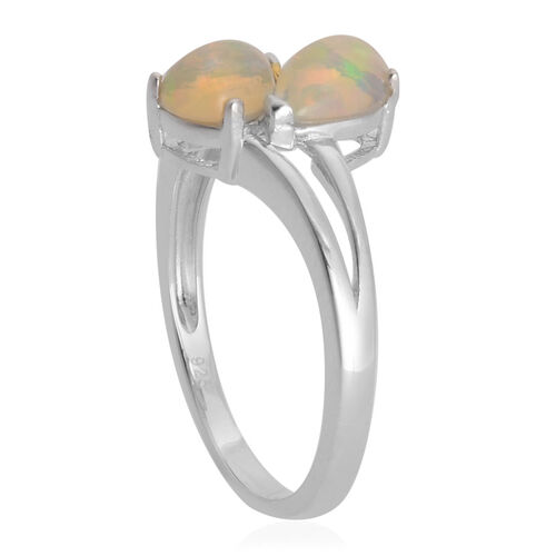 Ethiopian Welo Opal (Pear) Crossover Ring in Rhodium Plated Sterling Silver 0.900 Ct.