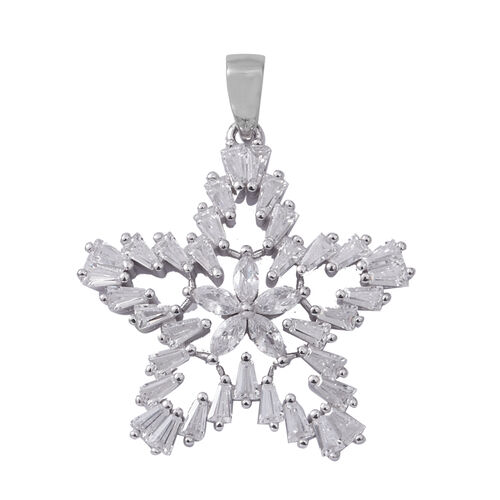 ELANZA Simulated Diamond (Bgt and Mrq) Star Pendant in Rhodium Overlay Sterling Silver