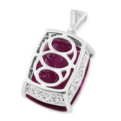 Radiant Orchid Triplet Quartz (Cush) Pendant in Sterling Silver 21.000 Ct.