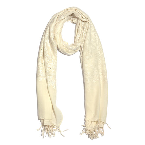 100% Merino Wool White Colour Floral Hand Embroidered Cream Colour Shawl with Fringes at the Bottom (Size 200x70 Cm)