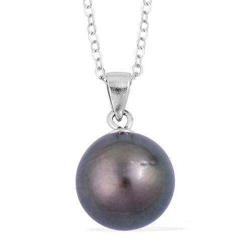 Limited Edition - Tahitian Pearl (Rnd 10-11mm) Pendant with Chain in Rhodium Plated Sterling Silver