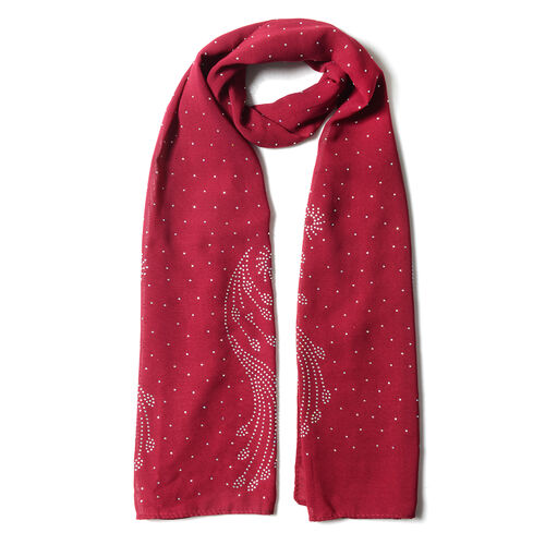 Wine Red Colour Peacock Tail Feather Pattern Scarf with Crystal Embellishment (Size 157x50 Cm)