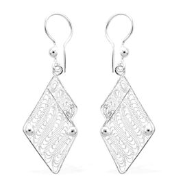 Royal Bali Collection Drop Earrings with Fancy Hook in Sterling Silver
